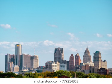 Detroit, Michigan / USA - July 15th 2017: Downtown district of the state biggest city. financial district.