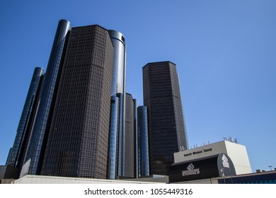 Detroit, Michigan, USA - March 18, 2018: The Renaissance Center Towers and entrance to the Detroit Windsor Tunnel in downtown Detroit Michigan.