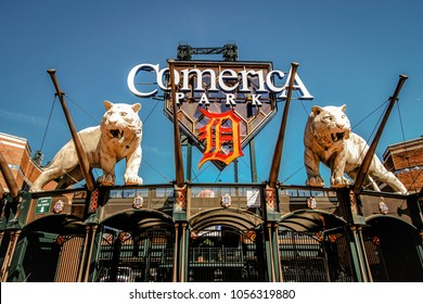 Detroit, Michigan, USA - March 20, 2018: Exterior of Comerica Park home to the Detroit Tigers. The ballpark has a capacity of over 41,000 and replaced Tiger Stadium in the year 2000.