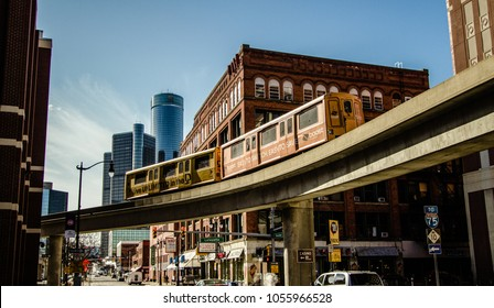 Detroit, Michigan, USA - March 22, 2018: Panorama of the downtown district of Detroit with the Renaissance Center and the People Mover monorail. Detroit is the largest city in the state of Michigan.