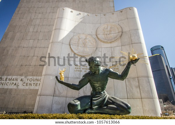 Detroit, Michigan, USA - March 22, 2018: The Spirit of Detroit at the Coleman A Young Municipal Center. The bronze statue was commissioned by the city in 1958 and is by sculptor Marshall Fredericks.