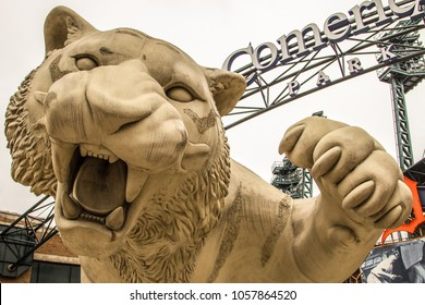 Detroit, Michigan, USA - March 28, 2018: Exterior of Comerica Park with the Detroit Tigers mascot. Comerica is home to the Tigers and has a capacity of over 41,000 people.