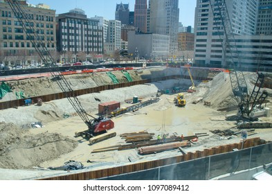 Detroit, Michigan, USA May 2, 2018.  New construction in downtown Detroit, the heart of the city.