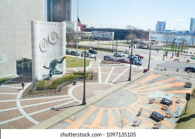 Detroit, Michigan USA, May 2, 2018, Spirit Of Detroit Plaza, downtown Detroit taken from high up.