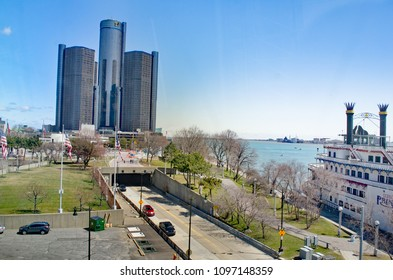 Detroit, Michigan USA, May 2, 2018, Detroits waterfront including Jefferson Avenue and  Detroit Renaissance Center or GM Headquarters.