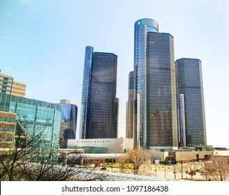 Detroit, Michigan USA. May 2, 2018, General Motors Headquarters