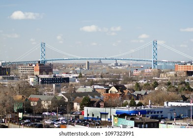 Detroit, Michigan USA, May 2, 2018 Ambassador Bridge from a distance on a clear sunny day. International border between the United States and Canada.
