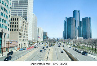 Detroit, Michigan USA, May 2, 2018, Detroits Renaissance Center and GM World Headquarters from a distance looking down Jefferson Avenue from high up.