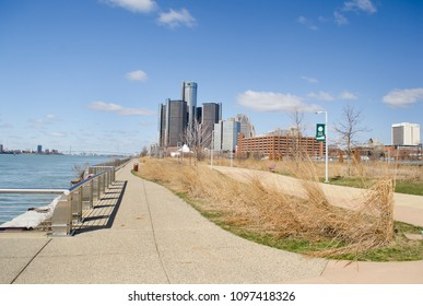 Detroit, Michigan USA, May 2, 2018, Detroit's Riverwalk along the Detroit River, Detroits beautiful side on a sunny day.