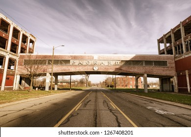 Detroit, Michigan, USA - November 23, 2018: The Packard Automotive Plant is a former automobile-manufacturing factory in Detroit, Michigan where luxury cars were made by the Packard Motor Car Company