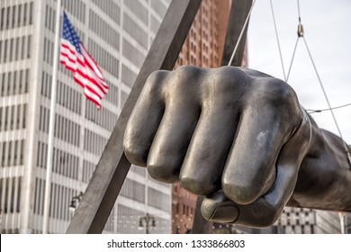 Detroit, Michigan, USA - November 23, 2018: The Monument to Joe Louis, known also as The Fist, is a memorial to the boxer at Detroit's Hart Plaza.