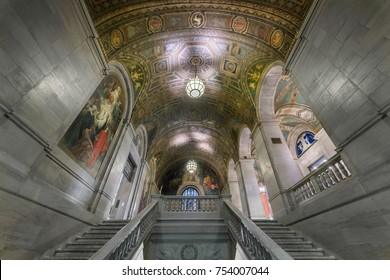 DETROIT, MICHIGAN, USA - NOVEMBER 4: Grand staircase inside the Detroit Public Library on Woodward Avenue on November 4, 2017 in Detroit, Michigan