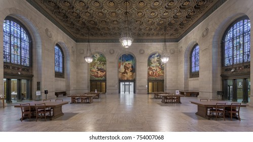 DETROIT, MICHIGAN, USA - NOVEMBER 4: Adam Strohm Hall, the original book delivery room, inside the Detroit Public Library on Woodward Avenue on November 4, 2017 in Detroit, Michigan