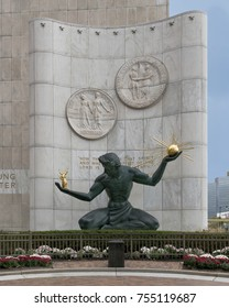 DETROIT, MICHIGAN, USA - NOVEMBER 5: The Spirit of Detroit monument on Woodward Avenue on November 5, 2017 in Detroit, Michigan
