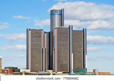 Detroit, Michigan USA - November 7, 2017 General Motors Headquarters in downtown Detroit Michigan November 7, 2017