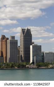 Detroit Michigan USA skyline as seen across the Detroit River.