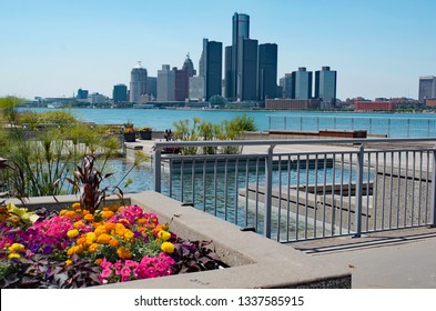 Detroit, Michigan, USA-July 13, 2018, City of Detroit in distance shot from Windsor, Ontario Canada