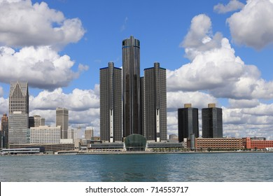 DETROIT, MICHIGAN/UNITED STATES- SEPTEMBER 6, 2017: The Renaissance center in Detroit with the Detroit River in the foreground [Detroit]