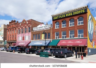 Detroit, Michigan/USA - April 7th, 2018 : Eastern Market Seafood, Cost Plus Wine Shoppe.