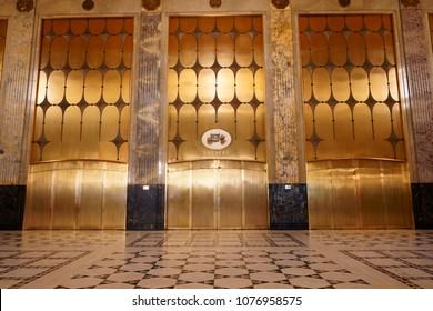 Detroit, Michigan/USA - April 9th, 2018 : Fisher Building, theatre doors in the main entrance. Albert Kahn, architech.