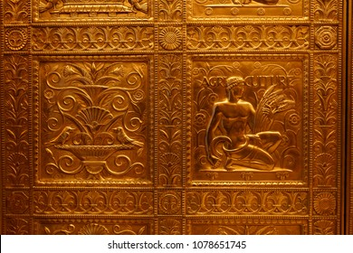 Detroit, Michigan/USA - April 9th, 2018 : Fisher Building, detail on the elevator door in the main entrance. Albert Kahn, architech.