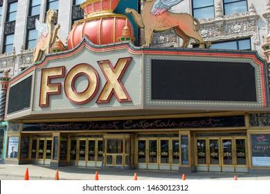 DETROIT, MICHIGAN/USA July 26, 2019: Fox Theatre, an entertainment venue in downtown Detroit, Michigan, July 26, 2019