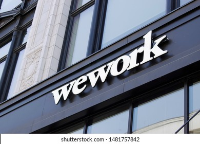 DETROIT, MICHIGAN/USA July 26, 2019: Wework exterior sign in downtown Detroit, July26, 2019