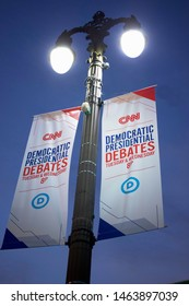 Detroit, Michigan/USA July 26,2019: CNN Democratic Presidential Debates Tuesday July 30 and Wednesday July31 in Detroit at Fox Theatre signage promoting the event, July 26, 2019