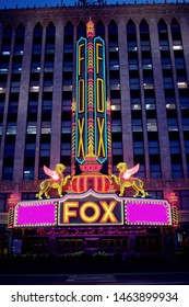 DETROIT, MICHIGAN/USA July 27, 2019 Fox Theatre Entertainment Venue in downtown Detroit, Michigan, beautifully lit at night, July 27, 2019