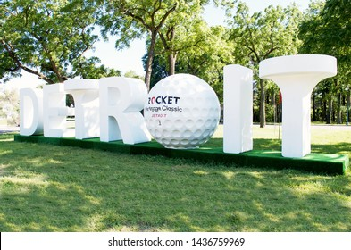 """DETROIT, MICHIGAN/USA June 26, 2019:Rocket Mortgage Classic Entrance sign to the Detroit Golf Club in Detroit, sponsored by Rocket Mortgage/Quicken Loans, 3 Dimentional """"DETROIT"""" sign, June 26, 2019"""