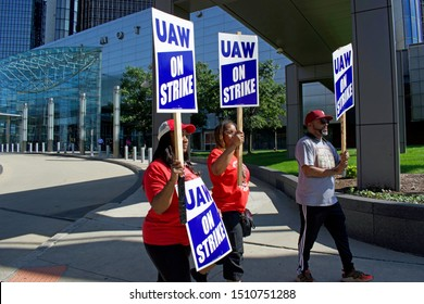DETROIT, MICHIGAN/USA September 18, 2019: UAW Strikers with signs in front of General Motors Headquarters, Downtown Detroit, September 18, 2019