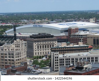Detroit, Mich./USA-6/11/19: Ford Field, home to the NFL's Lions, dominates the northeast quadrant of downtown.