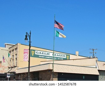 Detroit, Mich./USA-7/14/19: The Gaelic League building in Corktown, Detroit's historically Irish-American neighborhood that is experiencing redevelopment.