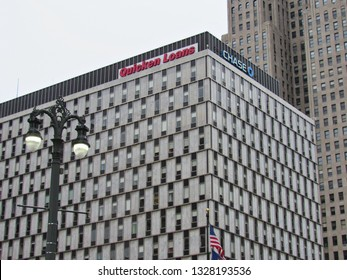 Detroit, Mich./USA-June 26, 2015: The headquarters of Quicken Loans now occupies the 1959 Albert Kahn-designed modernist building dubbed 'The Qube' in downtown Detroit.