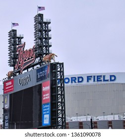 Detroit, Mich./USA-March 31, 2019: Comerica Park, home of the Detroit Tigers, neighbors Ford Field, where the Lions play.