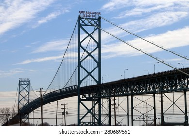 DETROIT, MI-MAY, 2015:  The Ambassador Bridge in Detroit connects the USA and Canada across the Detroit River.