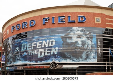 DETROIT, MI-MAY 2015:  Exterior of Ford Field, the home of the Detroit Lions.  The Lions are owned by members of the founding Ford Motor Company family.