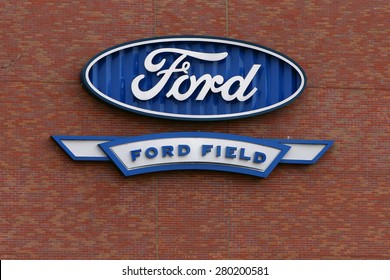 DETROIT, MI-MAY 2015:  Ford Field sign on the side of the Detroit Lions new football stadium.  The Detroit Lions are owned by members of the Ford family, hence the Ford Motor Company logo.