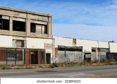 DETROIT, MI-OCTOBER, 2015:  Abandoned commercial businesses along one of Detroit's major thoroughfares.
