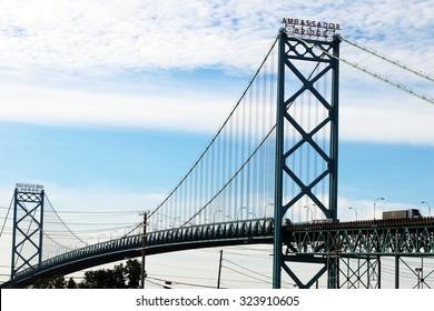 DETROIT, MI-OCTOBER, 2015: Detroit's Ambassador Bridge separates Canada from the United States.