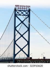 DETROIT, MI-OCTOBER, 2015:  Vertical image of Detroit's Ambassador Bridge, the link between Canada and the USA.