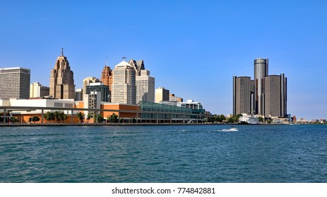 DETROIT, MI/USA - AUGUST 16, 2017:  The skyline of downtown, Detroit, MIchigan, as seen from the water,separating Detroit from Windsor, Canada.