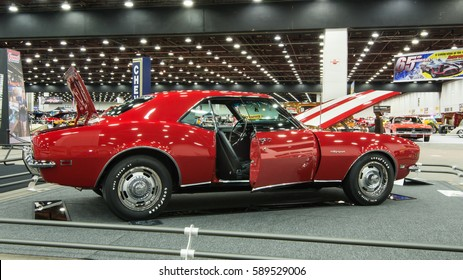DETROIT, MI/USA - February 24, 2017: A 1968 Chevrolet Camaro RS car restoration, on display at the Detroit Autorama, a showcase of custom and restored cars.