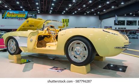 DETROIT, MI/USA - February 25, 2017: A 1957 Chevrolet Corvette restoration, on display at the Detroit Autorama, a showcase of custom and restored cars.