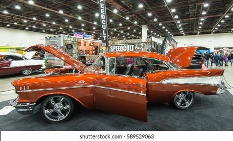 DETROIT, MI/USA - February 25, 2017: A 1957 Chevrolet Bel Air car interpretation, on display at the Detroit Autorama, a showcase of custom and restored cars.