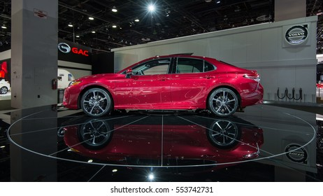 DETROIT, MI/USA - JANUARY 10, 2017: A 2018 Toyota Camry car at the North American International Auto Show (NAIAS).