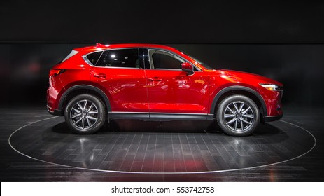 DETROIT, MI/USA - JANUARY 10, 2017: A 2017 Mazda CX-5 Crossover at the North American International Auto Show (NAIAS).