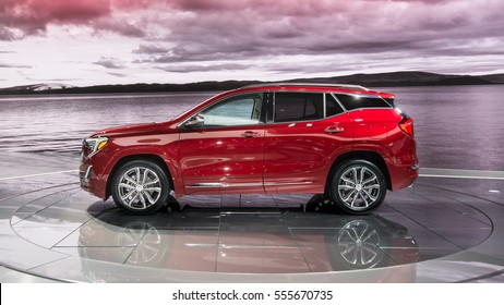 DETROIT, MI/USA - JANUARY 10, 2017: A 2018 GMC Terrain SUV at the North American International Auto Show (NAIAS).