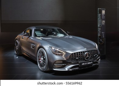DETROIT, MI/USA - JANUARY 10, 2017: A Mercedes-AMG GT C car at the North American International Auto Show (NAIAS).