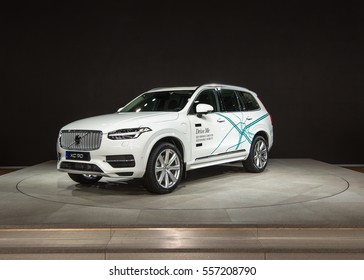 DETROIT, MI/USA - JANUARY 10, 2017: A Volvo XC90 Crossover at the North American International Auto Show (NAIAS).